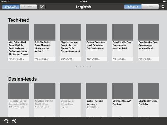 Initial wireframe / Categories view